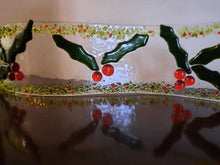 Load image into Gallery viewer, Fused Glass Holly Candle Wave