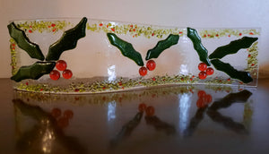Fused Glass Holly Candle Wave