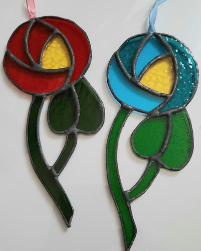 Stained Glass Rennie Macintosh Inspired Rose