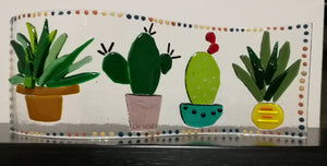 Fused Glass Cactus Wave