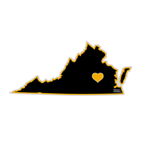 Virginia Heart Sticker (black & yellow)
