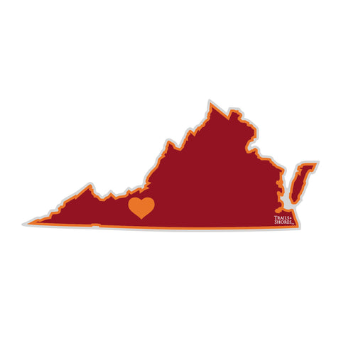 Virginia Heart Sticker (burgundy & orange)