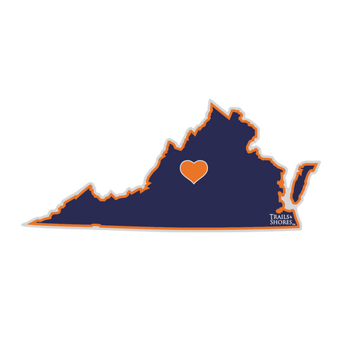 Virginia Heart Sticker (navy & orange)