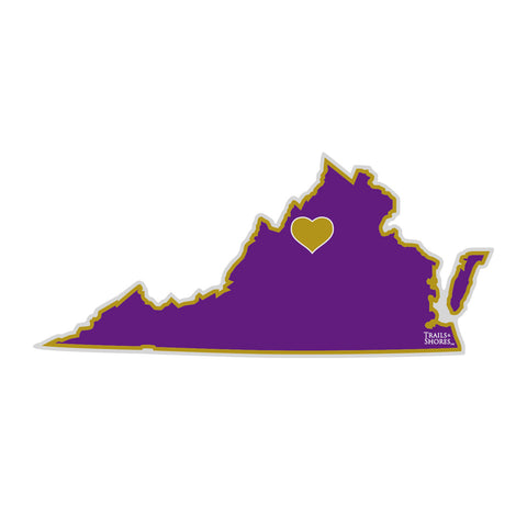 Virginia Heart Sticker (purple & gold)