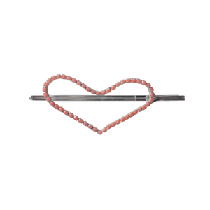 Heart shaped hair pin with pink rhinestones