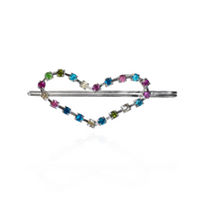 Load image into Gallery viewer, Heart shaped hair pin with multi color rhinestones
