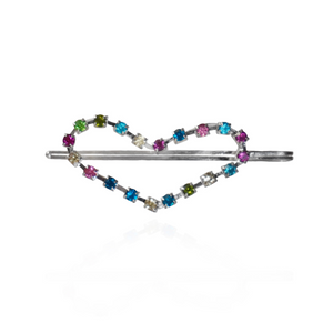 Heart shaped hair pin with multi color rhinestones