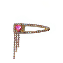 Load image into Gallery viewer, Pink heart hair clip with dangling a/b rhinestones