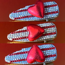 Load image into Gallery viewer, Spinning heart hair clip with red rhinestones