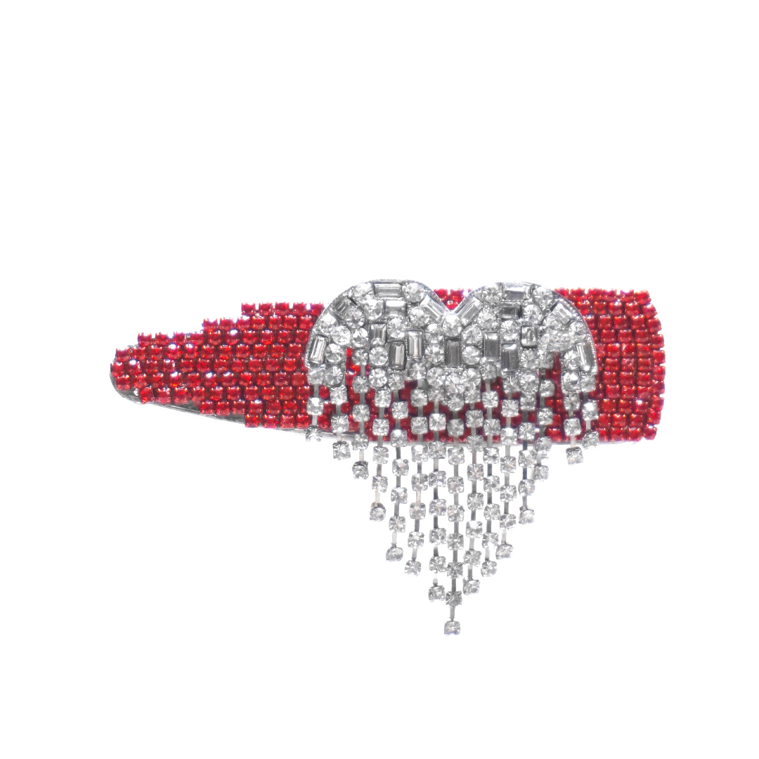 360 degree rotating crystal heart on hair clip with red and crystal stones
