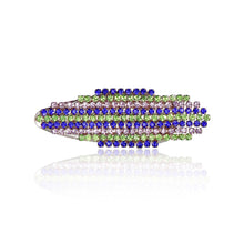 Load image into Gallery viewer, Hair clip with blue, green, and purple dangling rhinestones
