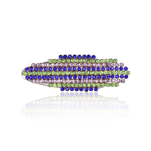 Hair clip with blue, green, and purple dangling rhinestones