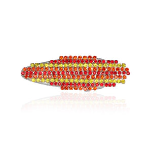Hair clip with red, orange, and yellow dangling rhinestones