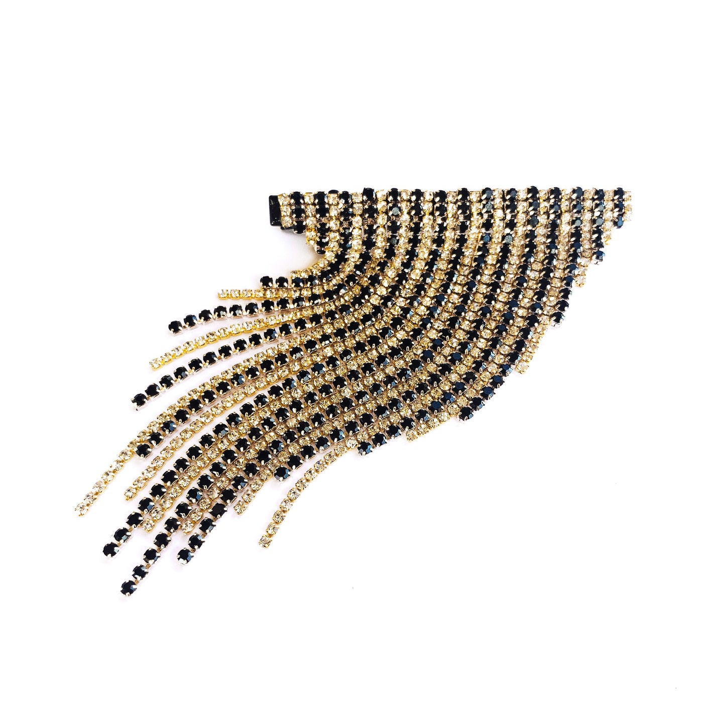 Long Dangling Gold and Black Hair Clip