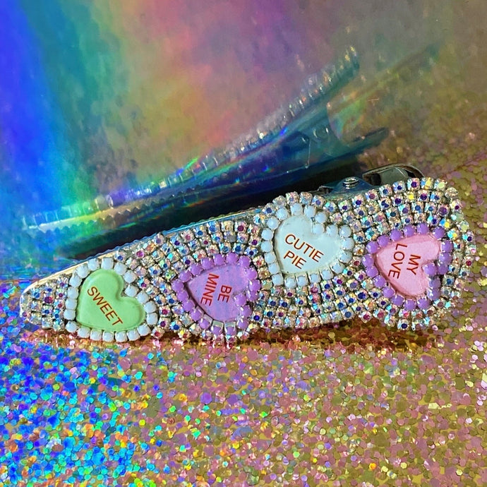 valentines day candy hearts and rhinestones hair clip