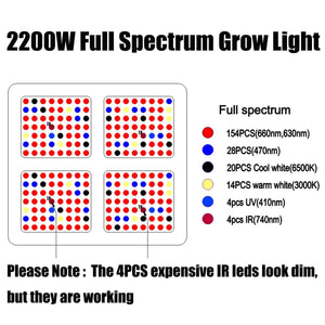 Phlizon 600/900/1200/1600/2200W LED Pflanzenlampen / Grow Lampen
