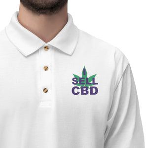 I Sell CBD (Purple & Green) Embroidered - Men's Jersey Polo Shirt