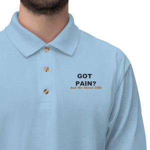 Got Pain? Ask Me About CBD (Black & Gold) Embroidered - Men's Jersey Polo Shirt