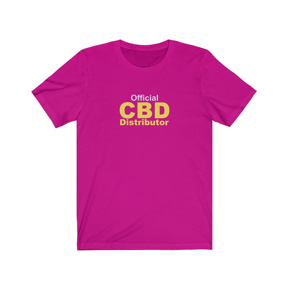 Official CBD Distributor - (White & Yellow) Unisex Jersey Short Sleeve Tee