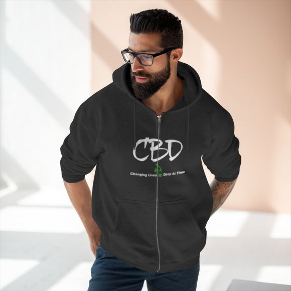 2 Sided CBD Changing Lives One Drop at A Time / CBD Curious Unisex Premium Full Zip Hoodie (plus size to 2x)