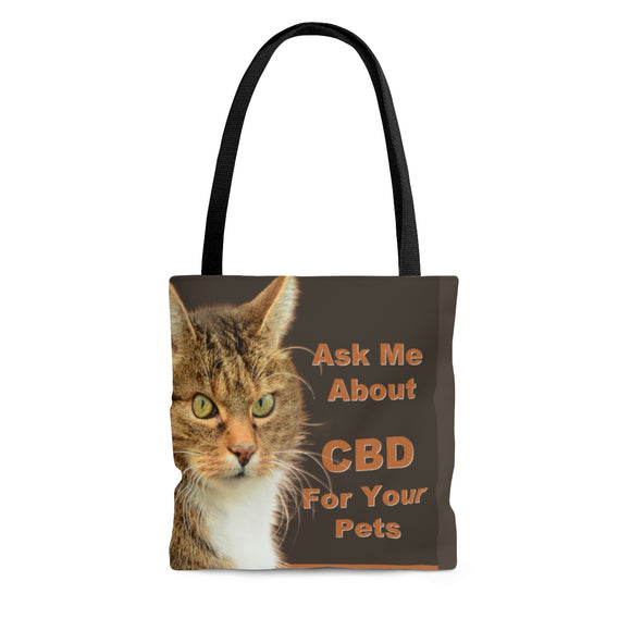 Ask Me How CBD Can Help Your Pets  2 Sided Tote Bag (Cat) 3 Sizes