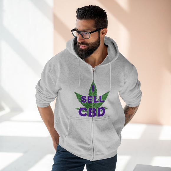 2 Sided Got Pain? Ask Me About CBD / I Sell CBD Unisex Premium Full Zip Hoodie (Plus Size up to 2x)