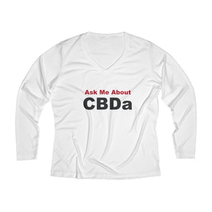 Ask Me About CBDa  Women's Long Sleeve Performance V-neck Tee