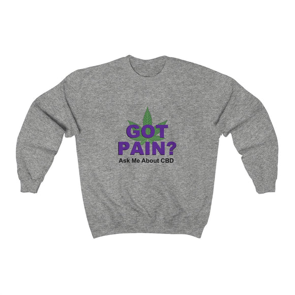 Got Pain? Ask Me About CBD 2 Sided print Unisex Heavy Blend™ Crewneck Sweatshirt (plus size up to 5x)