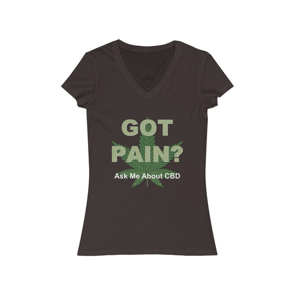 Got Pain? Ask Me About CBD / Can't Sleep 2 Sided Women's Jersey Short Sleeve V-Neck Tee