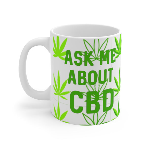 Ask Me About CBD (hemp leaf) Ceramic Mug