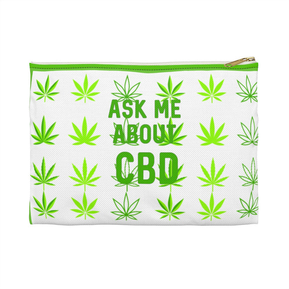 Ask Me About CBD (Hemp Leaf) Accessory Pouch