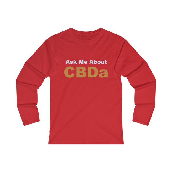 Ask Me About CBDa Women's Fitted Long Sleeve Tee