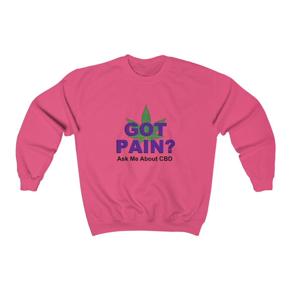 Got Pain? Ask Me About CBD Unisex Heavy Blend™ Crewneck Sweatshirt (plus size up to 5x)