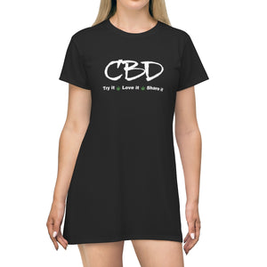 CBD, Try It, Love It, Share It  - T-shirt Dress (up to plus size 2x)