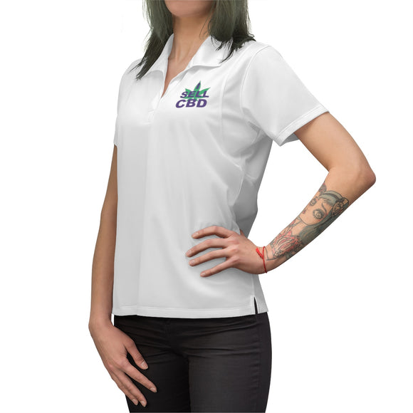 I Sell CBD (Purple & Green) Embroidered Women's Polo Shirt