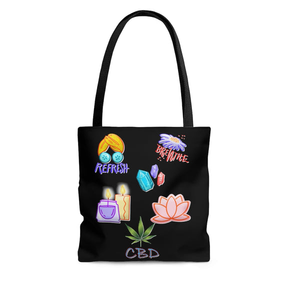 Refresh, Breathe, CBD-  2 Sided Tote Bag
