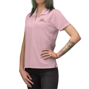 Got Pain? Ask Me About CBD (Red & Black) Embroidered Women's Polo Shirt