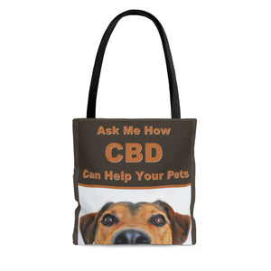 Ask Me How CBD Can Help Your Pets  2 Sided Tote Bag (dog) 3 Sizes