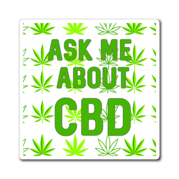Ask Me About CBD Hemp Leaf Magnet