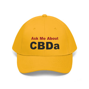 Ask Me About CBDa (Black & Red) - Unisex Twill Hat