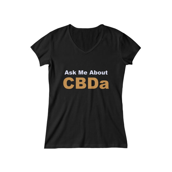 Ask Me About CBDa Women's Baby Rib Short Sleeve V-Neck Tee