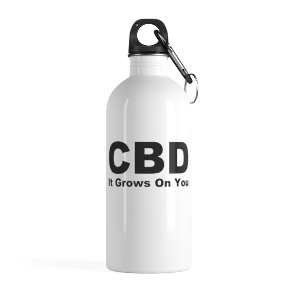 CBD It Grows On You (black) Stainless Steel Water Bottle