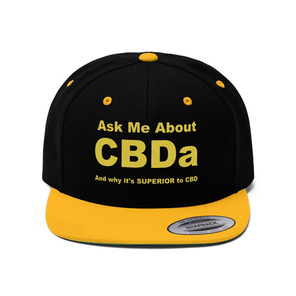 Ask Me About CBDa Unisex Flat Bill Hat