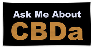 Ask Me About CBDa White And Gold - Beach Towel