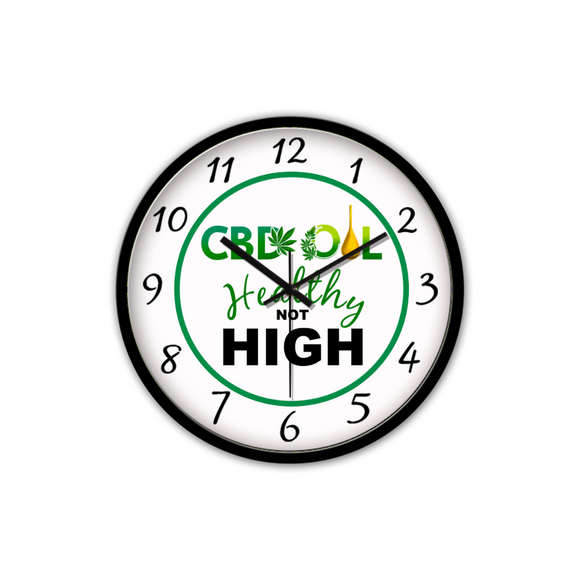 CBD Oil Healthy Not High - NON-TICKING SILENT WALL CLOCK (BLACK)