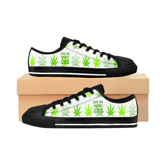 Ask Me About CBD (Hemp Leaf) Men's Sneakers