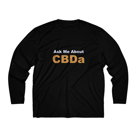 Ask Me About CBDa up to 4x Men's Long Sleeve Moisture Absorbing Tee (up to plus size)
