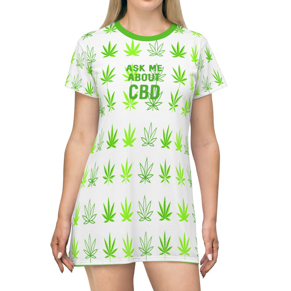 Ask Me About CBD Hemp Leaf T-shirt Dress (up to plus size 2x)