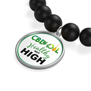 CBD Oil Healthy Not High -  Matte Onyx Bracelet