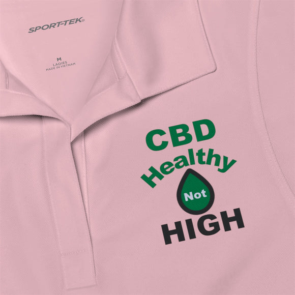 CBD Healthy Not High Embroidered Women's Polo Shirt (plus size to 4x)